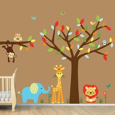 Childrens Wall Decals, Boys Room, Jungle Wall Decals, Boy Tree Decal (Color Me Happy)