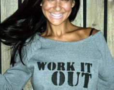 3bcb6110f8c7c Work It Out. Off the Shoulder Girly Sweatshirt Sizes M-XL. Workout Wear