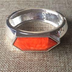 Silver Cuff Bracelet with Orange Stone Cabochon Gorgeous silver tone cuff bracelet with a chunky orange cabochon. Hinge opening. 7 Inches. Retails $25 Passiana Jewelry Bracelets