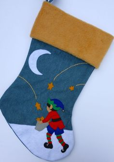Elf Christmas Stocking Girl or Boy by HeartfeltStockings on Etsy Felt Christmas Stockings, Santa Christmas, Christmas Goodies, Diy Christmas Gifts, Holiday Crafts, Baby Stocking, Christmas Ideas, Christmas Decorations, Santa Letter