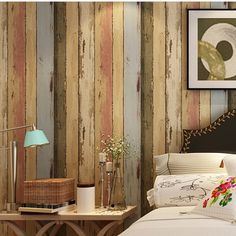 nostalgic american wood grain wallpaper retro finishing vintage living room wall paper tv background colours stripe wallpaper