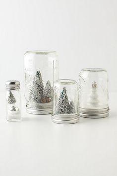 snow globes in mason jars via Anthropologie