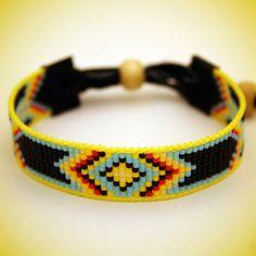 Handmade loom beaded authentic bracelet made with Japanese Miyuki beads and leather. Loom Bracelet Patterns, Bead Loom Bracelets, Bead Loom Patterns, Bracelet Clasps, Beading Patterns, Indian Beadwork, Indian Crafts, Beads And Wire, Loom Beading