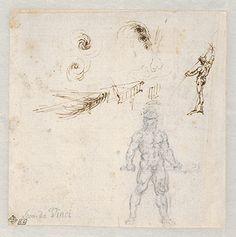 Studies for Hercules Holding a Club Seen in Frontal View, Male Nude Unsheathing a Sword, Leonardo da Vinci