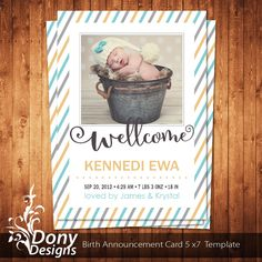 Birth Announcement Neutral Baby Card Photo Template Instant 1 Get Free Cardcode 191