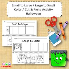 Sort by Size Activity Sheets - Color, Cut, and Paste - Halloween Theme from Sweetie's