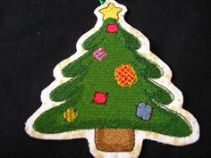 Christmas Ornament - Embroidered Tree