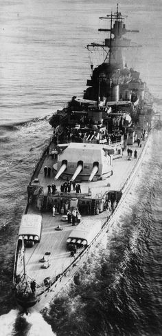 April 1939: Admiral Graf Spee in the English Channel en route to the Atlantic for a naval exercise with Admiral Scheer, Deutschland and other units of the Kriegsmarine. (Note her 8 torpedo tubes mounted on the stern.) Source: Maritime Quest.