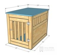 DIY Dog kennel end table! maybe make the large front w/ hidden hinge and slide the kennel inside