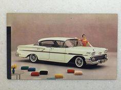 Vintage Automobile Postcard Chevrolet 1958 Bel Air Sport Sedan