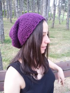 Purple Slouchy Hat Knit Beanie Hat Fall Trends by DragonflyStrand