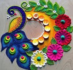 Rangoli Designs Simple Diwali, Simple Rangoli Border Designs, Rangoli Designs Latest, Rangoli Designs Flower, Free Hand Rangoli Design, Rangoli Ideas, Colorful Rangoli Designs, Diwali Rangoli, Rangoli Designs Images
