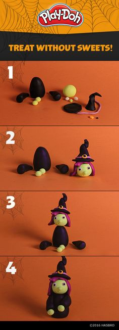 Once your kids create this adorable witch, help them give her a backstory! They'll have fun creating their own story with Play-Doh compound while developing their imaginative play skills! Then, spread the fun by handing out mini cans instead of candy this year—you can get them here.