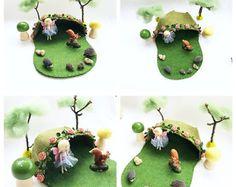 Perzik Rose fairy huis playscape spelen mat - wol vilt pretend storytelling storybook fairytale fantasy fairy huis grot - bos speelgoed