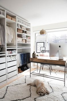 49 Creative Closet Designs Ideas For Your Home. Unique closet design ideas will definitely help you utilize your closet space appropriately. An ideal closet design is probably the only avenue towards . Ikea Pax Closet, Ikea Pax Wardrobe, Closet Office, Closet Bedroom, Closet Space, Office Wardrobe, Walk In Closet Ikea, Wardrobe Room, Guest Room Office