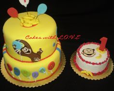 Curious George Cakes - First year old Curious George Cake with smash, butter cake with banana buttercream,  Curious George is made with fondant, we call them fondant puzzles.  TFL