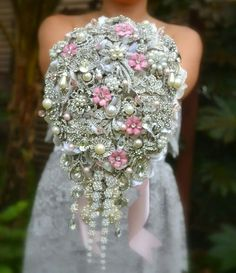 a183339cae Wedding Ideas - Deposit on blush pink cascading brooch bouquet made to by  Noaki