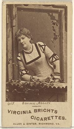 Card 415, Emma Abbott, from the Actors and Actresses series (N45, Type 1) for Virginia Brights Cigarettes Issued by Allen & Ginter  (American, Richmond, Virginia) Date: ca. 1888 Medium: Albumen photograph