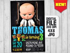 The Boss Baby Invitation, Boss Baby Birthday, Boss Baby Party, Boss Baby Movie Invite, Baby Printables, Baby boss invitation digital