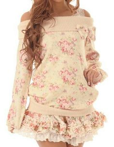 Himekaji floral sweater and matching skirt