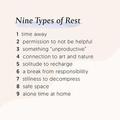 Nine types of rest & self care for self love Relation D Aide, Self Improvement, Self Help, Self Care, No Time For Me, Wise Words, Life Quotes, Inspirational Quotes, Work Motivational Quotes
