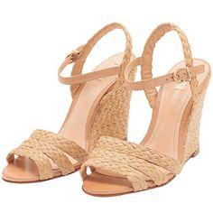 872dc44007 SCHUTZ Sandália anabela trançada palha ... Sapatos Espadrille, Sapatos  Rosa, Saltos Bege