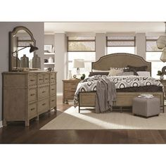 Classic Weathered Sand 6 Piece Queen Bedroom Set - Leyton Park
