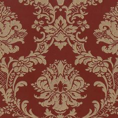 Dramatic Gold Damask on Deep Red Wallpaper MD29434 – D. Marie Interiors