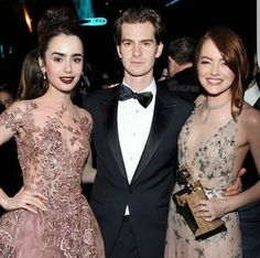 #goldenglobes #lilycollins #emmastone #andrewgarfield #fashion #redcarpet #celebrity  #beauty #makeup  #actor