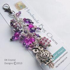 Owl Bag Charm - Keyring - DK Crystal Designs - Folksy