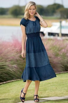 Denim & Lace Peasant Dress: Classic Women's Clothing from #ChadwicksofBoston…