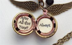 Harry Potter Font Golden Snitch Always Necklace Steampunk. $27.00, via Etsy. - I want this!!