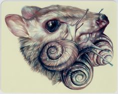 """Marco Mazzoni """"The Tears Eaters""""2013, colored pencils and ink on moleskine paper, cm 14x18"""