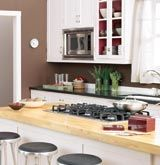 Kitchen cabinets with glass cupboard
