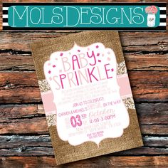 GIRL Version Any Color BABY SPRINKLE Couples Light Pink Lace Burlap Having One More Shower Bbq Barbecue Sprinkles 1st 2 Surprise Invitation