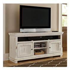 "Willow 64"" Entertainment Console in Distressed White   Nebraska Furniture Mart"