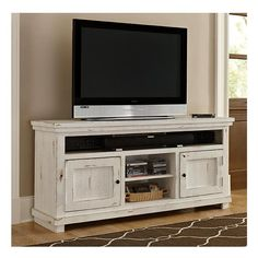 "Willow 64"" Entertainment Console in Distressed White 