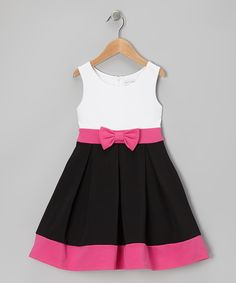 White & Black Bow Dress - Toddler & Girls | Daily deals for moms, babies and kids