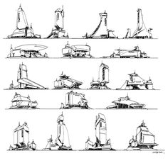 ArtStation - Quick brainstorm sketches, Z PZ Futuristic City, Futuristic Architecture, Space Architecture, Landscape Concept, Fantasy Landscape, Cyberpunk, Social Media Art, Architecture Concept Drawings, City Sketch