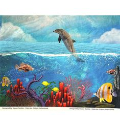 digitalprint af delfin og fisk, jersey - oeko tex 100