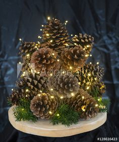 Christmas Tree made of Pine cones with lights