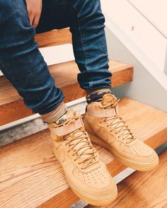 Menswear fashion. Streetwear Nike Air Force 1 Wheat  See this Instagram photo by @thrillhouse1 • 248 likes