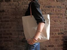 Linen Tote Bag, Beach Bag, Day Bag - Black Linen and Leather. $104.00, via Etsy.