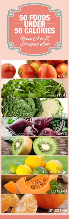 50 foods under 50 calories -- reminders for what to buy at the grocery store.