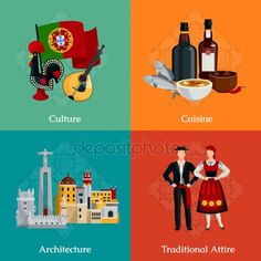 Buy Portugal Flat Icons Set by macrovector on GraphicRiver. Bright flat icons set with traditional portugal attire cuisine culture and architecture on colorful background is. Best Beaches In Europe, Portugal Holidays, Portuguese Culture, People Fall In Love, Luxury Holidays, History Books, Colorful Backgrounds, Vector Free, How To Draw Hands