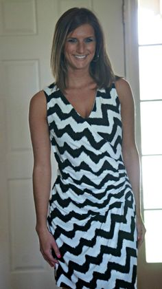 Stitch Fix Reveal: Third Edition; I love everything that was in her box... the wrap cut of this maxi dress is adorable and I love the chevron.  She looks great in everything that came in that box.