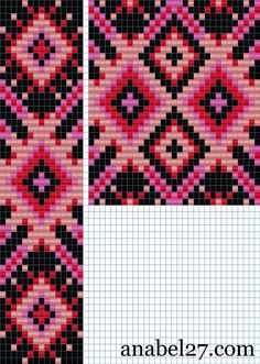 """Схема гердана """"Розового с черным """"  http://anabel-beadpatterns.blogspot.com/"""