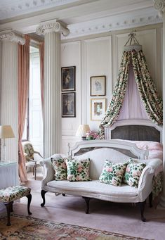Georgia Beaufort Takes Us Inside Her Storied English Estate, Badminton House Decor, Furniture, Fuschia Bedroom, Room, English Estate, Shabby Chic Bedroom, Home Decor, House Interior, Bedroom Decor