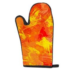 Abstract texture in orange and yellow Oven Mitt