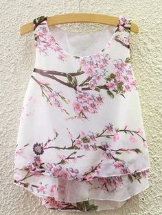 Sweet Scoop Neck Peach Blossom Print Tank Top For Women #shoes, #jewelry, #women, #men, #hats, #watches, #belts